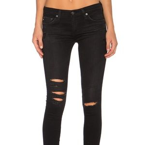 AG Black Gray Legging Ankle Ripped Skinny Jeans 26